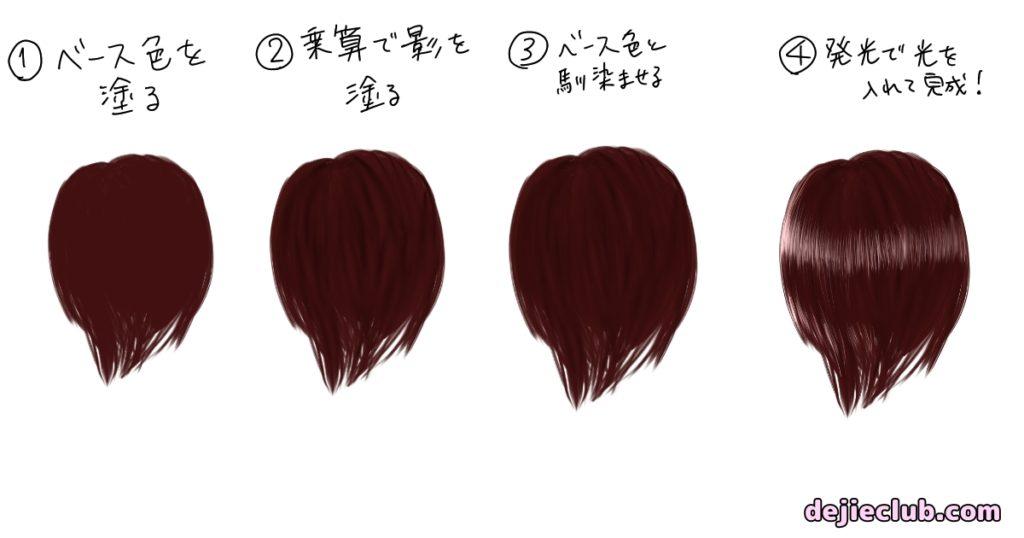 髪を塗る手順